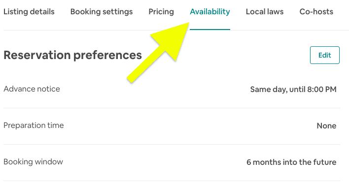 Airbnb calendar availability tab