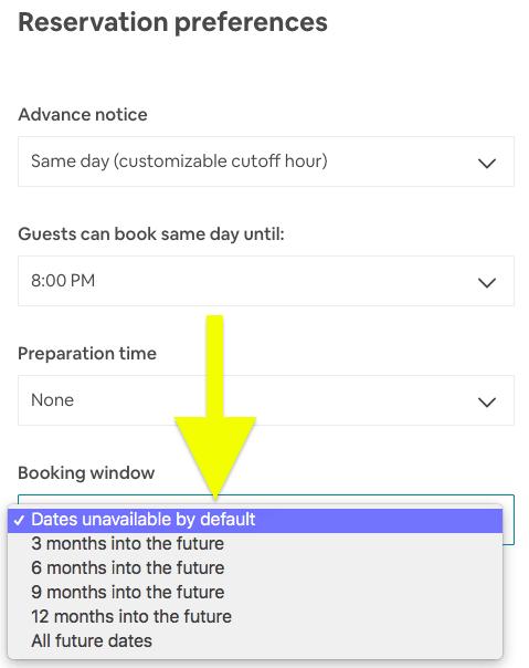 set airbnb calendar availability