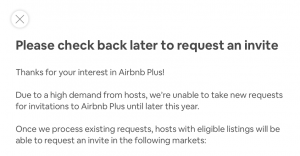 Airbnb Plus no longer accepting new hosts