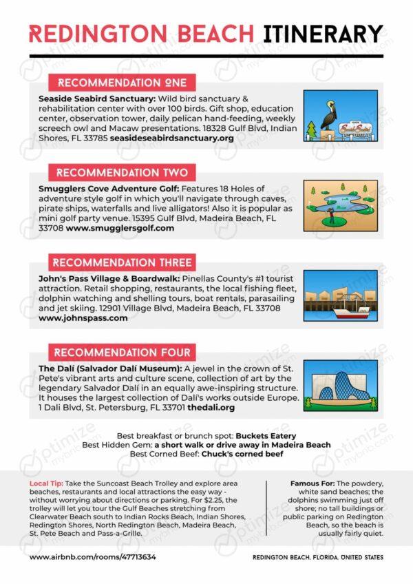 Redington Beach Itinerary - airbnb guest custom travel itinerary