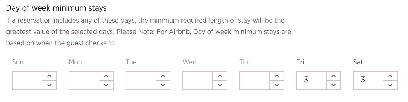 day of week minimum night airbnb pricing tool customization