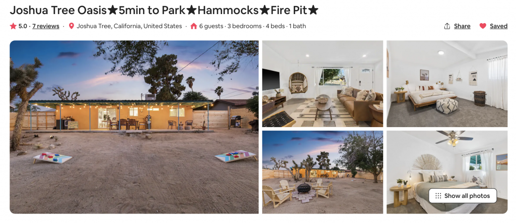 airbnb listing branding example joshua tree oasis