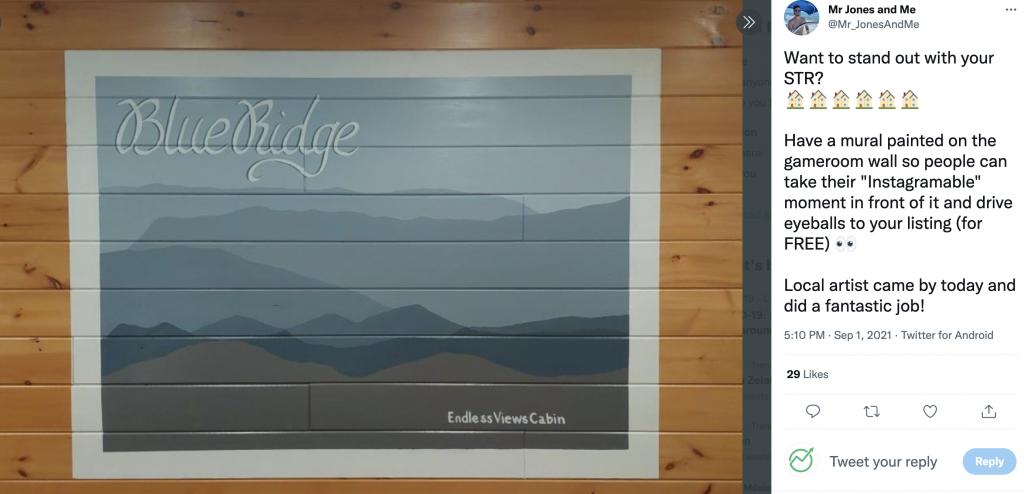 blue bridge endless views cabin airbnb branded instagram photo